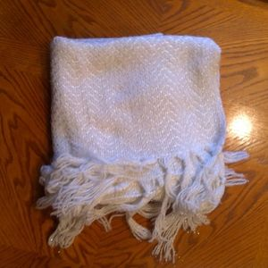White & Silver Scarf with Tassels